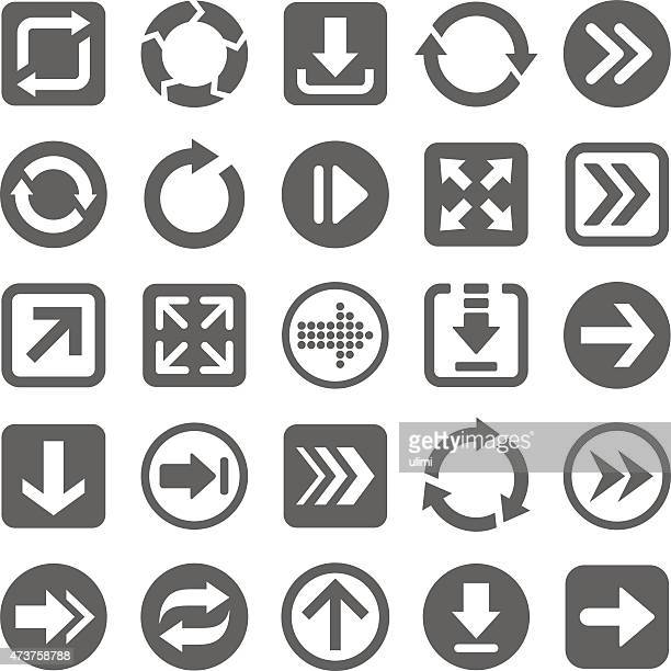 Several gray arrow icons on a white background