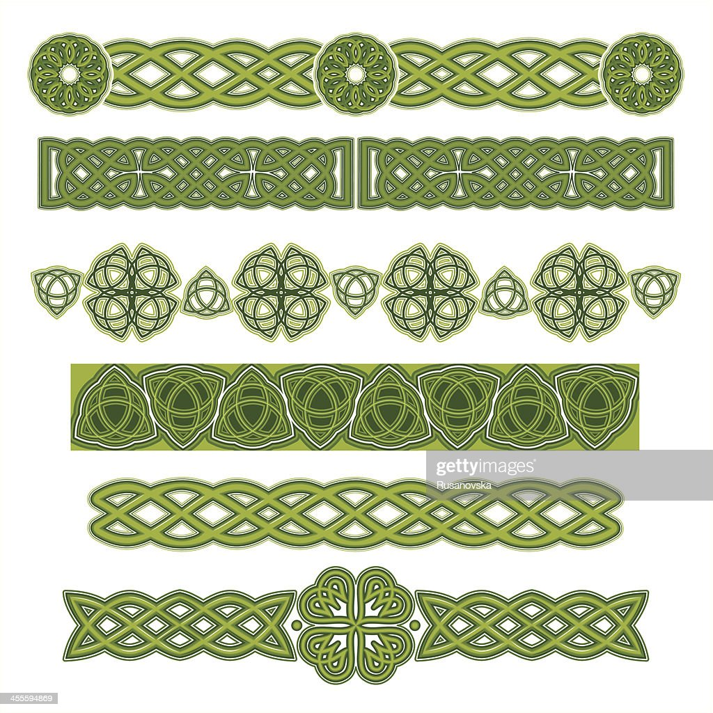 Several green celtic designs on a white background vector art getty