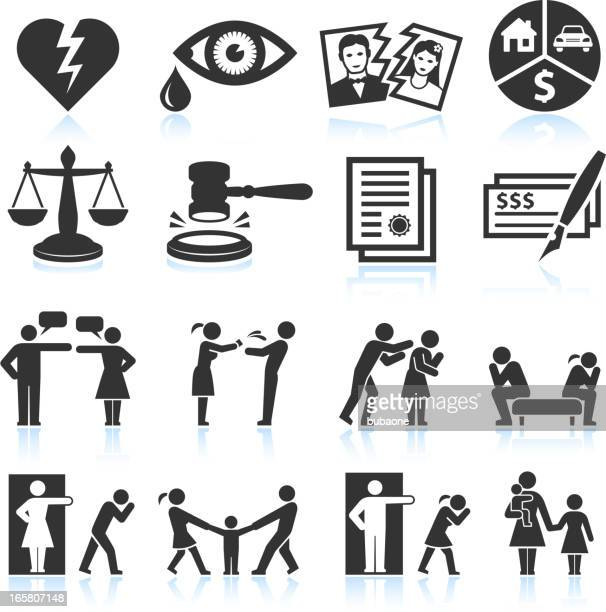 Several icons that symbolize relationship trouble