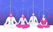 Several office workers in smart clothing sit in yoga position and meditate against abstract blue background. Concept of business meditation and team building activity. Vector illustration for poster
