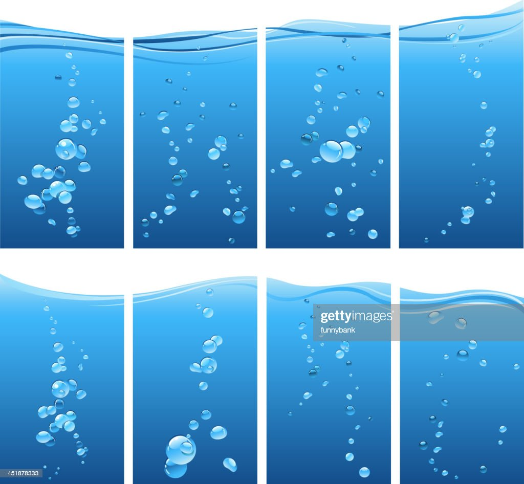 Several Sets Of Underwater Bubbles Vector Art | Getty Images