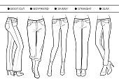 Boot cut, boyfriend, skinny, straight, slim fits