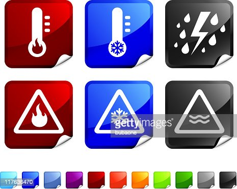 Severe Weather Warning Royalty Free Vector Icon Set Stickers ...