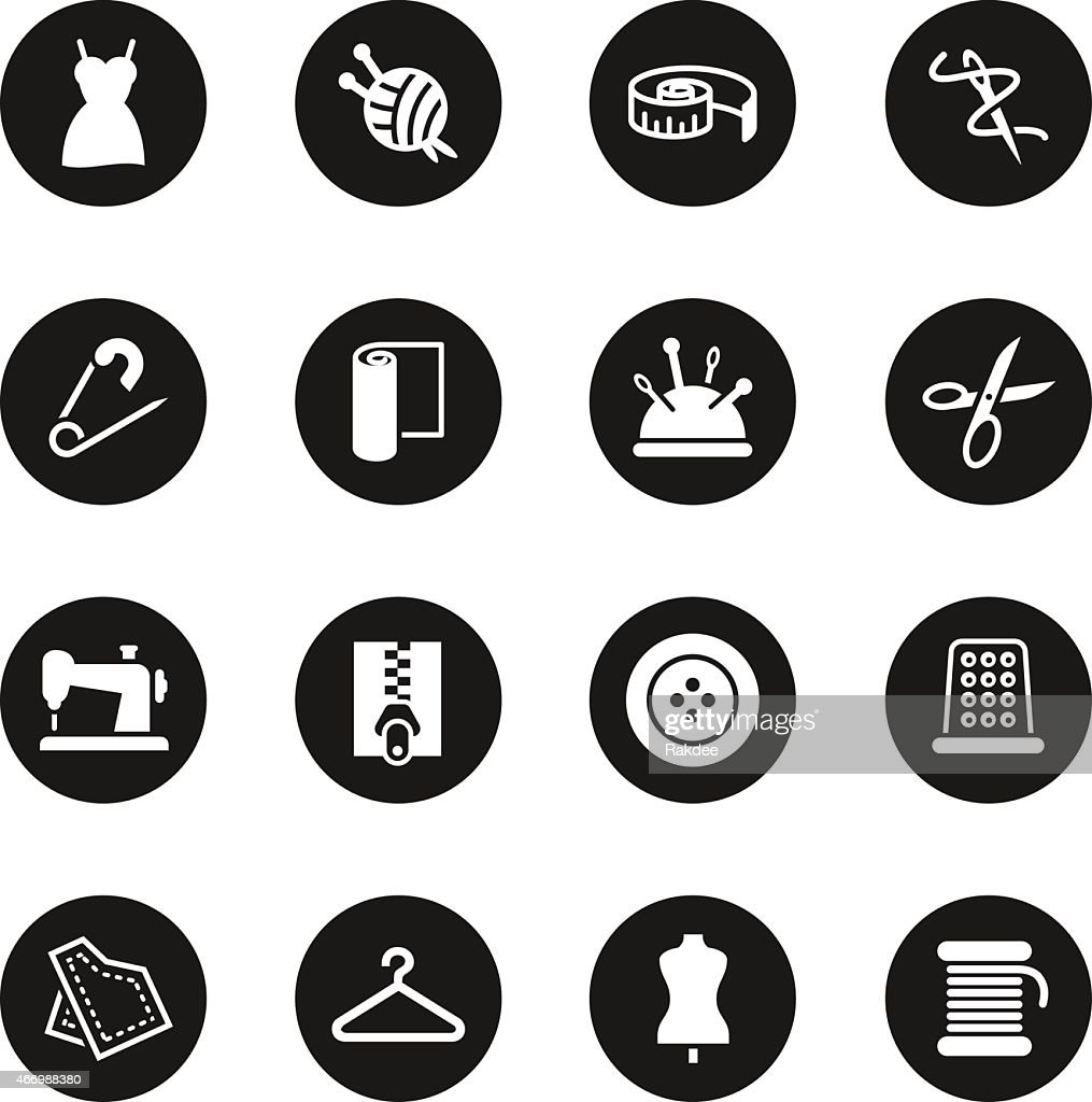 Sewing icons black circle series vector art getty images for Black circle vector