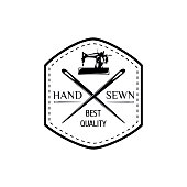 Sewing machine. Hand Made Label. Tailor Shop Badge Vector Illustration
