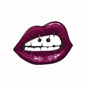 Sexy mouth illustration. Vector dark pink glamour lips with piercing, kind of body modification. Beaty trend - lip ring, teenager fashion jewelry glam style