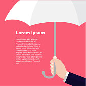 Businessmen holding white umbrella. Man's arm with umbrella. Protection flat style pattern concept-Vector flat design