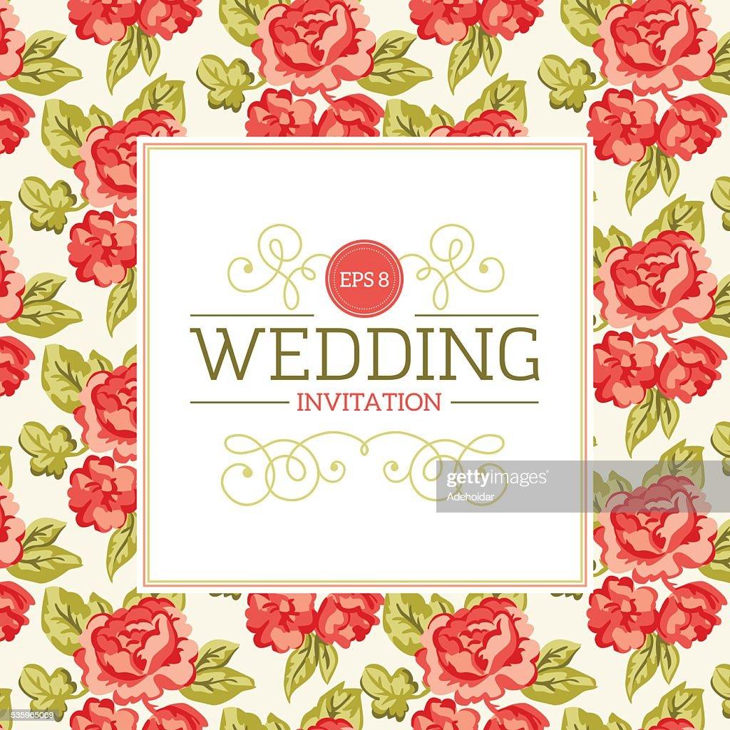 Shabby Chic Floral Wedding Invitation : Vector Art
