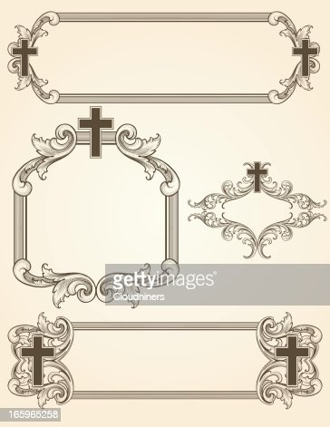 shaded arabesque cross frames vector art