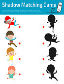 Shadow Matching Game for kids, Visual game for kid. Instructional media, Connect the dots picture,Education Vector Illustration.