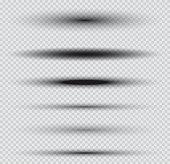 Shadows Set on Transparent Background. Vector Illustration.
