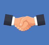Shake hands agreement and deal. Partnership business concepts. Vector flat cartoon illustration
