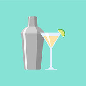 Shaker with cocktail. Illustration flat design style