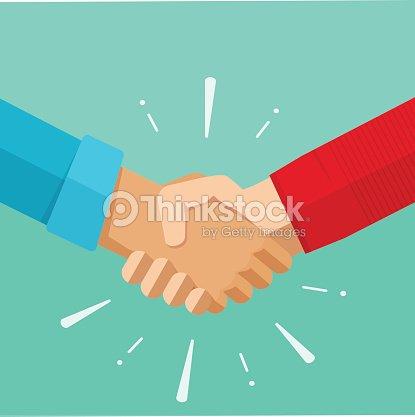 Shaking hands vector illustration, agreement deal handshake, partnership friendship congratulations : stock vector