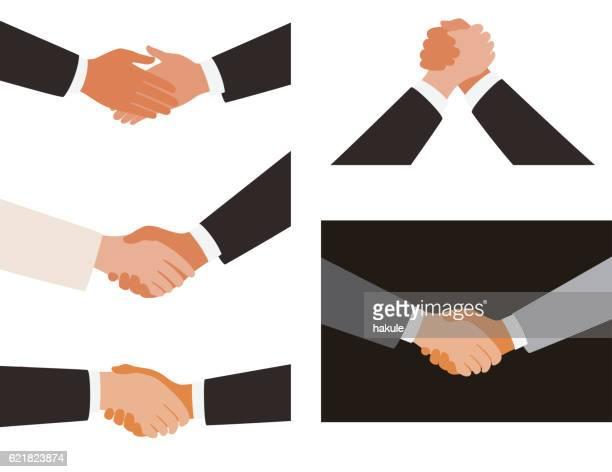 shaking hands, white and black background