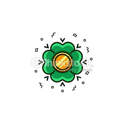 Trébol Con Moneda De Oro Icono De La Línea Plana De Color Sobre ...