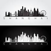 Shanghai skyline and landmarks silhouette, black and white design, vector illustration.