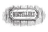 shape wooden sign board with distillery. Vector illustration