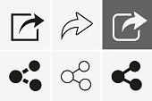 Share Icons. Vector set for web