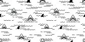 Shark Fin Dolphin Ocean Sea Seamless Pattern / wallpaper Background