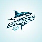 Modern professional sharks design for a club or sport team