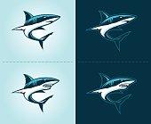sharks aggressive illustration emblem design