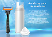 Best shaving foam for smooth skin ads. Vector realistic illustration of shaving foam bottle package and wet shave razor mockups. Shave and hair removal products poster, banner design template.