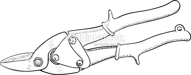 Tijeras para chapa de corte de metal arte vectorial - Tijeras de chapa ...
