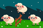 Sheep jump over the fence, counting before bed. Postcard