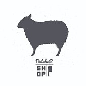 Sheep silhouette. Lamb meat. Butcher shop label template for craft food packaging or restaurant design. Vector illustration