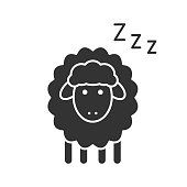 Sheep with zzz symbol glyph icon. Vector silhouette. Counting sheep to sleep