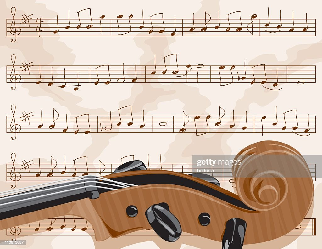Sheet Music with Cello Scroll : Vector Art