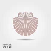 Sea shell. Flat vector icon with shadow