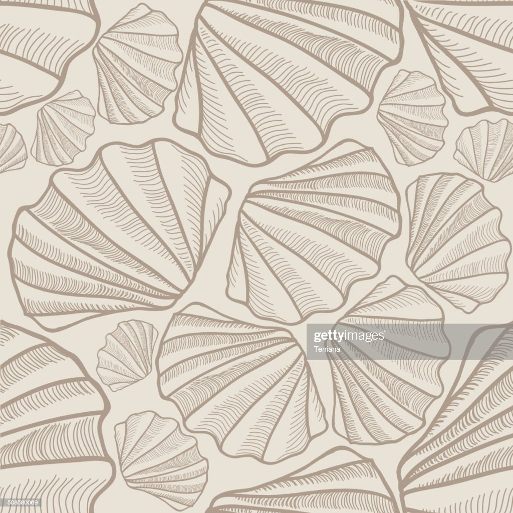 Shell seamless pattern. Sea shells vector background : Vector Art
