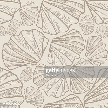 Shell seamless pattern. Sea shells vector background : Vectorkunst