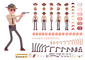 Sheriff character creation set. Public officer on legal duty, making arrest. Full length, different views, emotions, gestures. Build your own design. Cartoon flat-style infographic illustration
