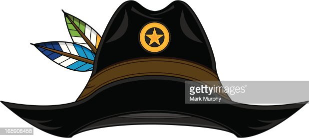 Vector illustration of a wild west cowboy sheriff hat with feathers