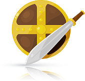 Shield and sword isolated on white background. Vector illustration.