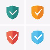 Shield and Tick Icons. Check mark warranty. Guaranteed Icons