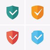 Shield and Tick Icons. Check mark warranty. Guaranteed Icons