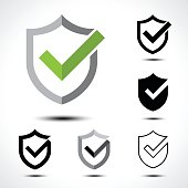 Shield check mark icon icon design template element/ Vector illustration of shield with right tick on white background