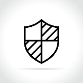 Illustration of shield icon on white background