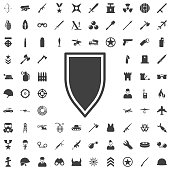 Shield in flat design. Shield icon isolated. Vector illustration. Set of weapon icons