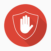 Shield with hand block icon in flat style with shadow. Stop hand red prohibition. Vector illustration