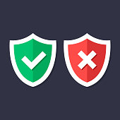 Shields and check marks icons set. Red and green shield with checkmark and x mark, cross mark. Protection, safety, security, reliability concepts. Modern flat design graphic elements. Vector icons