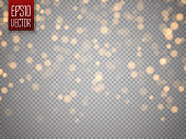 Shining bokeh isolated on transparent background. Christmas concept. Vector illustration
