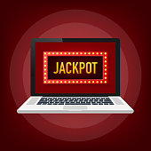 Shining retro sign Jackpot banner on laptop. Vintage style banner. Vector stock illustration.