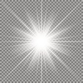 Sunlight with lens flare effect, shining star on transparent background