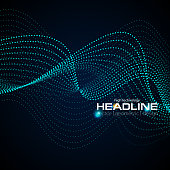 Shiny abstract futuristic hi-tech dotted line waves background. Vector design