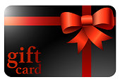 shiny black gift card with red ribbon vector illustration